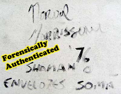The typical BDP signature on the back of almost all of Randy Potter's Morrisseaus, that Donald Robinson and other Morrisseau collectors saw. The Conspiracy Theorists, at first in love with the signatures, would suddenly change their minds, say the huge signatures on every canvas were all forged, never explaining why such a huge betraying forgery would possibly be put there by even the dumbest forger, knowing it would betray him instantly. In fact the Stupid Forger was turned in by the signature DNA in the end thanks to handwriting analyis by top Canadian forensic scientiests. The Dumb Forger turned out to be, with DNA certainty, none other than Norval Morrisseau himself.