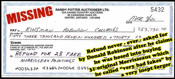 After having supposedly paid $54,000 for Potter forgeries, this is the cheque that Donald Robinson should have demanded, but inexplicably never did...