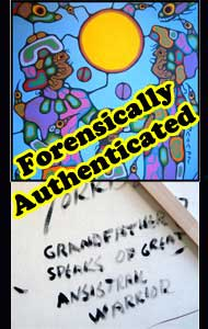 """Grandfather Speaks"" the painting trashed in the media, and which was subsequently certified a genuine Morrisseau by a forensic scientist. Proving you need brains, not just money to spend wisely."