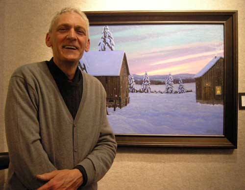 Norm Brown, one of Canada's finest artists, showing off his art at a show at Artworld of Sherway, in Toronton, ON.