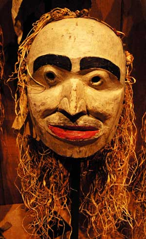 "This U'mista mask stands for hundreds of other hertiage art treasures that stolen, sold off or destroyed by malevolent whte men seeking to ""kill the Indian in the child."""