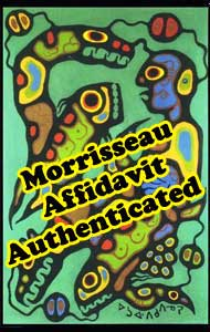 The painting, sent by Donald Robinson to the National Post  as an example of the forgeries, was passed over as a forgery by Norval Morrisseau when he went over a small Maslak McLeod catalogue - where it rated a full page - and he specifically picked out over half as forged. Yet Norval refused to include this one in the list of forgeries.