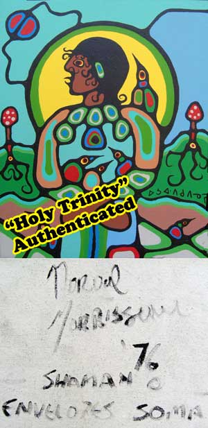 "ULTRA RARE - A typical BDP from Norval's 1970s high point, signed, titled, and dated by his hand. And all called fakes by Donald Robinson and Ritchie Sinclair. Except some 70 have been authenticated by top forensic experts. And this one, is the first Norval Morrisseau painting ever to be given a ""beyond DNA certainty"" authenticity rating of 100%, as being painted by Norval."