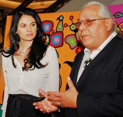 Wolf Morrisseau (with Donna Child) explaining at Artworld of Sherway, in May 2013,  exactly what he told Judge Martial in court, that he was responsible, in the 1970s, for getting his older brother Norval, to start regularly signing the back of his canvases in English with a black drybrush writing.