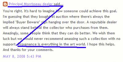 "Donald Robinson's self-serving claim in this screen grab from his KRG corporate post of 2008, to justify that not only is a paper trail for Morrisseau mandatory but it must be from Kinsman Robinson Galleries, you know, the Principal Morrisseau Dealer, and the only Morrisseau outlet getting its paintings directly from the artist. Lacking this kind of ""providence"" all the others are fakes… Make that about 4,000 all belonging to other dealers. Nice…"