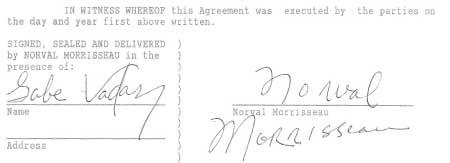 Gabe Vadas countersigned the contract which Norval had signed 24 times in all... but claimed he couldn't remember...