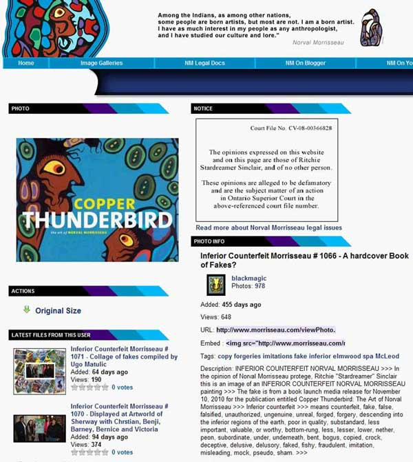 From Sinclair's vicious and malicious website, his attack on Sherry Brydson's Elmwood Spa and the book of Norval's art she planned to publish until her gallery curator became subject to a multi-prong attack by the Morrisseau HOAX cartel. First she got a threatening phone call from Paul Robinson, then a vile follow-up phone call from KRG enforcer Mark Anthony Jacobson, then a compliance visite from Ritchie Sinclair in his Davy Crockett costume and accompanied by his rommate Garth Cole who works for the City of Toronto when not helping Sinclair with his enforcement activities.
