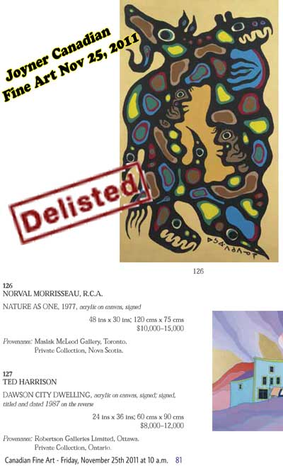 The Joyner catalogue entry which shows by it's own estimate it delisted, damaged, and devlaued a painting without cause  that it valued at up to $15,000.