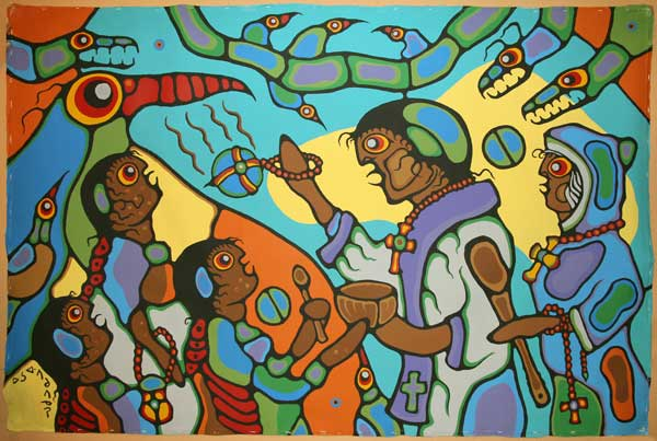 In one of the most magnificent works ever painted by Morrisseau he shows the often starlkly racilly explict nature of his art.