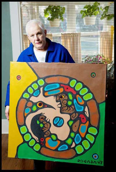 """Wheel of Life 1979"" that was the centre of the longest trial in Canadian fine art history, and was found by both Dr. Atul K Singla, a top Canadian forensic scientist, and Judge Paul J Martial to be authentic and signed by Norval Morrisseau himself and no one else. Margaret Hatfield, because she did not do ""due diligence,"" and based on gossip she heard somewhere, ended up paying a lawyer over $40,000 to try to prove her genuine Morrisseau, for which she paid only $10,000 in 2005, was a forgery."