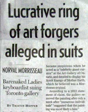 "The National Post makes a startling announcement, claiming - clearly a first in history - that it has discovered a lucrative ring of art forger, working ""in suits."""