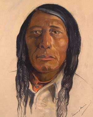 "Petocahhanawawin or Poundmaker, is simply the most fabulous portrait of a Canadian Indian chief ever painted (pastel on paper), one of only four ""copies"" known to exist and each made, with slight differences by Edmund Morris before he died in 1913.  Today ""his Indian portraits are now considered priceless."" The three other copies are in Archives Canada, Museum London, and in the celebrated ""Hall of the Chiefs"" in the Saskatchewan Legislature. There was no provenance or chain of title that came with this fabulous original work."