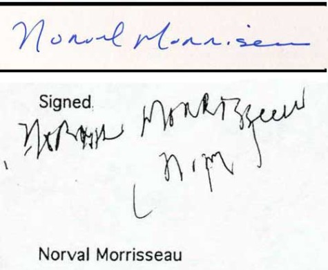 A normal signature top, from when Norval was healthy in the 1970s. Below a Demenia-debilitated and Parkinson's Twitch distorted signature from May 2001.