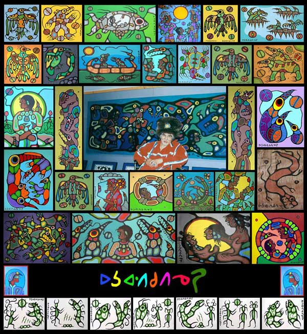 A collage prepared by Ugo Matulic which summarizes most of the genuine Morrisseau paintings that have been authenticated by three of Canada's top forensic experts, to have been signed by Norval, with DNA certainty, and by no one else. All remain posted as fakes on Ritchie Sinclair's libelous and defamatory web site in March 2014.