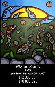 Water Spirits, one of many paintings Ritchie Sinclair praised to the skies as a wonderful Morrisseau and then, overnight, started denouncing as a forgery. Water Spirits was defaced by arch-Conspiracy Theorist Bryant Ross of Aldergrove, BC, after having tried to sell it for over $12,000 for years.